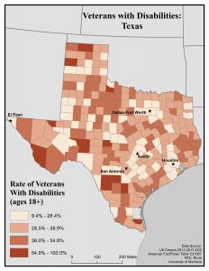 Map of Texas showing rates of veterans with disabilities. See Texas State Profile page for full text description.