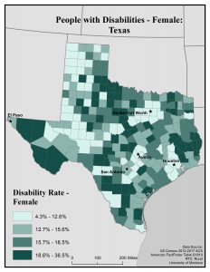 Map of Texas showing rates of females with disabilities by county. See Texas State Profile page for full text description.