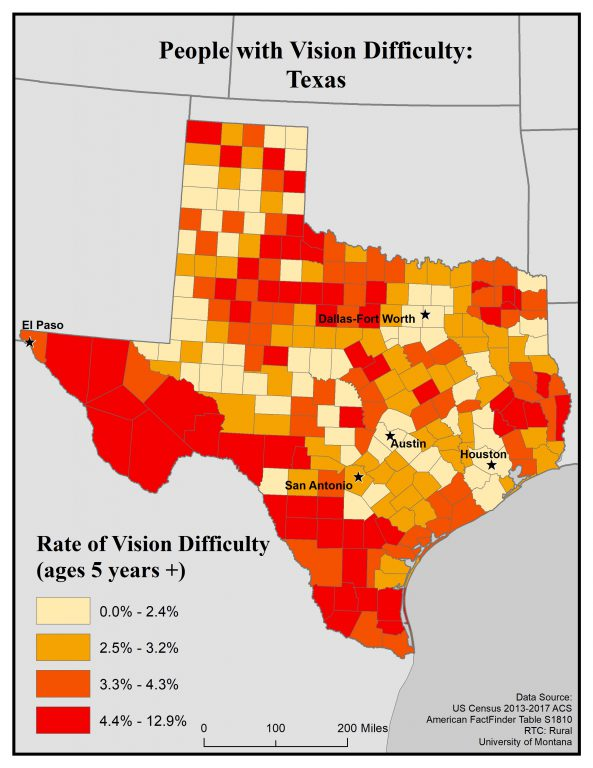 Map of Texas showing rates of people with vision difficulty by county. See Texas State Profile page for full text description.