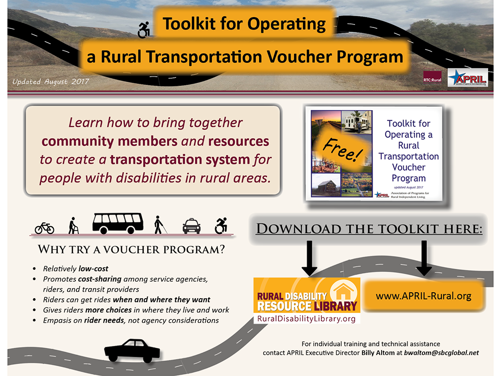 Flyer for the Toolkit for Operating a Rural Transportation Voucher Program. Full text description found below image.