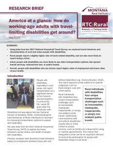 Cover/first page of research brief: America at a glance- how do working-age adults with travel-limiting disabilities get around?