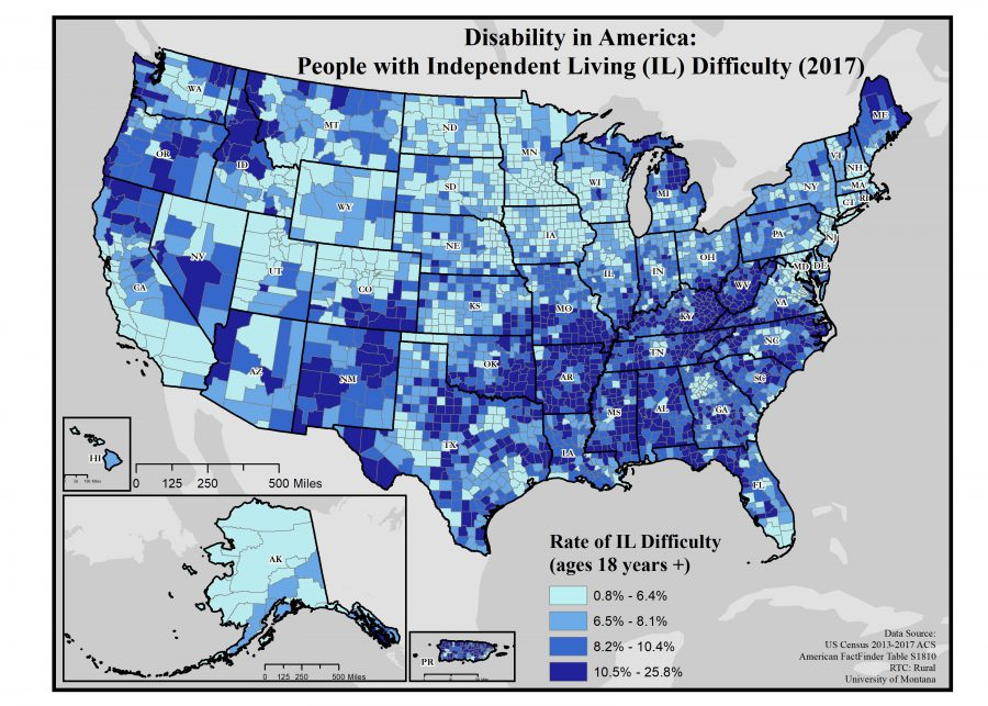 Map of rates of independent living difficulty by county in US.