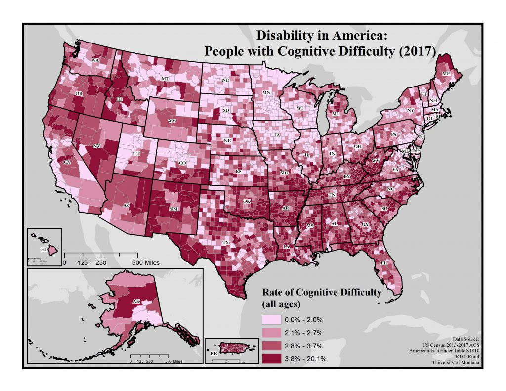 Map of cognative difficulty rates across US. Text description in post.