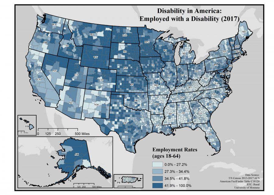 map of rates of employed people with disabilties by county in the US.