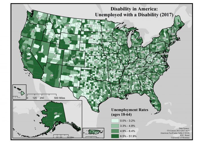 map of rates of unemployed people with disabilites by county across the US.