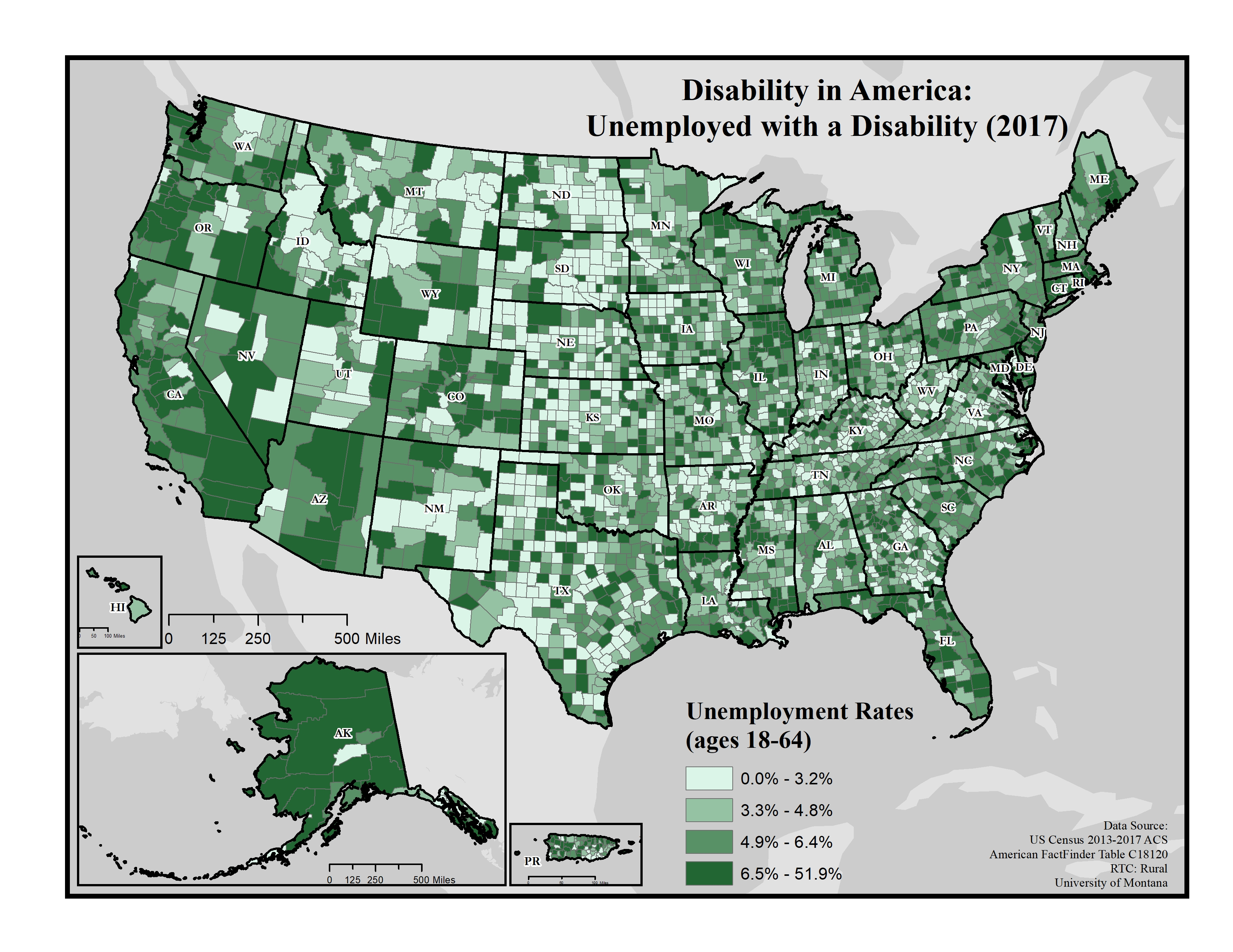 Map Of America 2017.Maps Of Disability And Employment Rtc Rural