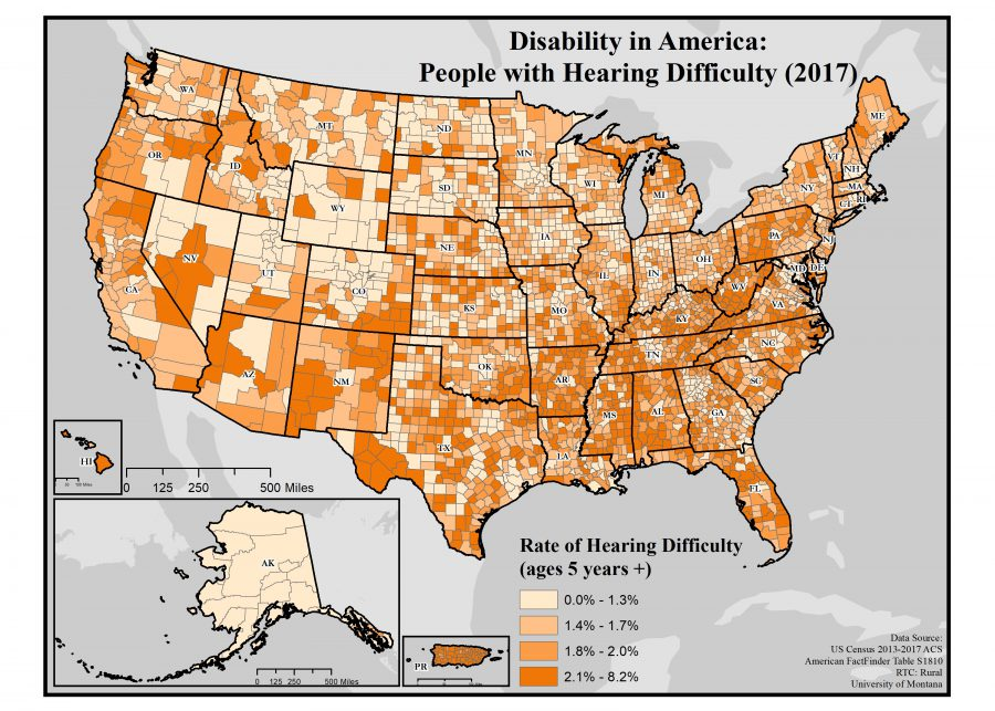 map showing rates of hearing difficulty by county across the US. Text description in post.