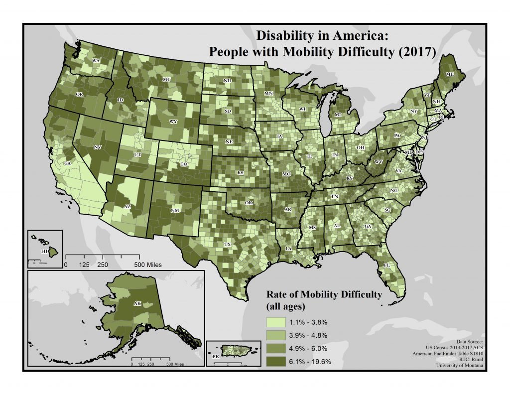 Map of rate of mobility difficulty by county across the US.