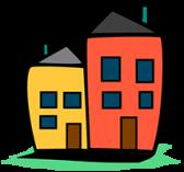 The Home Usability Program logo, two cartooon houses.