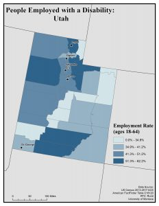 Map of UT showing rates of people with disability employed. See Utah State Profile for text description.