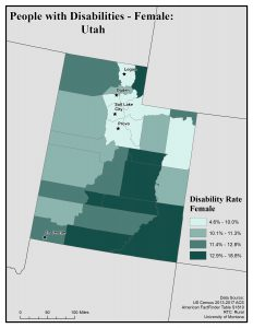 Map of Utah showing rates of females with disability. See Utah State Profile for text description.