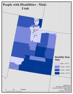 Map of Utah showing males with disability. See Utah State Profile for text description.