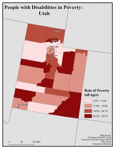 Map of Utah showing rates of people with disability in poverty. See Utah State Profile for text description.