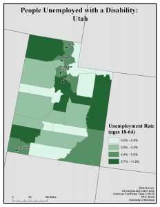 Map of UT showing rates of people with disability unemployed. See Utah State Profile for text description.