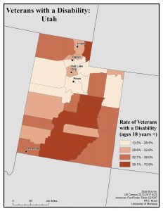 Map of Utah showing rates of veterans with disability. See Utah State Profile for text description.
