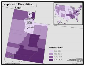 Map of Utah showing disability rates by county. See Utah State Profile page for full text description.