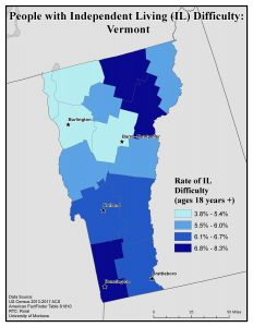 Map of Vermont showing rates of people with IL difficulty by county. See Vermont State Profile page for full text description.