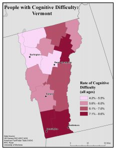 Map of Vermont showing rates of people with cognitive difficulty by county. See Vermont State Profile page for full text description.