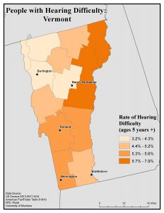 Map of Vermont showing rates of people with hearing difficulty by county. See Vermont State Profile page for full text description.