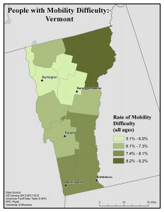 Map of Vermont showing rates of people with mobility difficulty by county. See Vermont State Profile page for full text description.