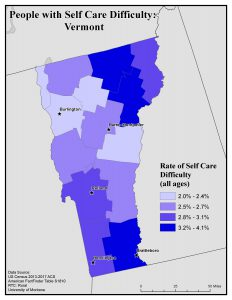 Map of Vermont showing rates of people with self care difficulty. See Vermont State Profile page for full text description.