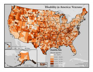 This is a map of the United States which shows disability rates among veterans by county. A text description of this map is included in the webpage content.