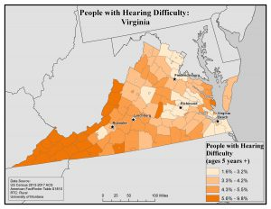 Map of VA showing rates of hearing difficulty by county. See VA State Profile page for text description.