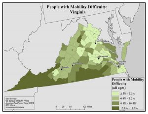 Map of VA showing rates of people with mobility difficulty by county. See VA State Profile page for text description.
