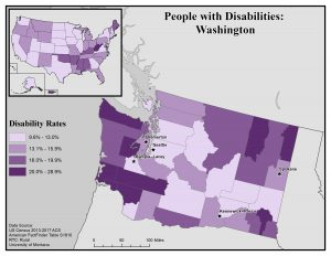 Map of Washington showing disability rates by county. See Washington State Profile page for full text description.