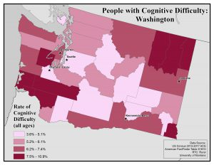 Map of the state of Washington showing rates of people with cognitive difficulty by county. See Washington State Profile page for full text description.