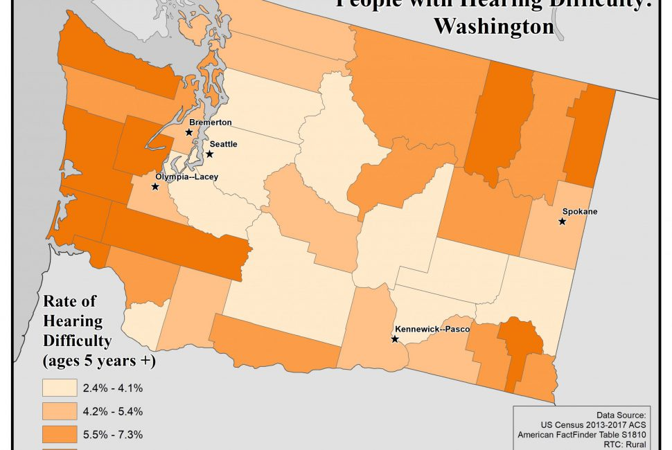 Map of the state of Washington showing rates of people with hearing difficulty by county. See Washington State Profile page for full text description.