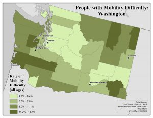 Map of the state of Washington showing rates of people with mobility difficulty by county. See Washington State Profile page for full text description.