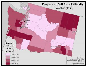 Map of the state of Washington showing rates of people with self care difficulty by county. See Washington State Profile page for full text description.
