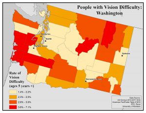 Map of the state of Washington showing rates of people with vision difficulty by county. See Washington State Profile page for full text description.