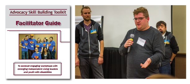 Two pictures: one is of the Advocacy Skill Building Toolkit Facilitator Guide cover, the other of a young man speaking into a microphone at a workshop as two facilitators look on.
