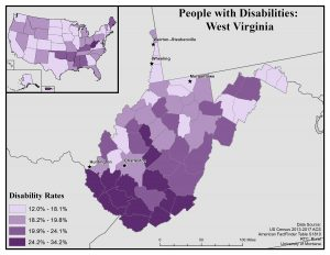 Map of West Virginia showing disability rates by county. See WV State Profile page for full text description.