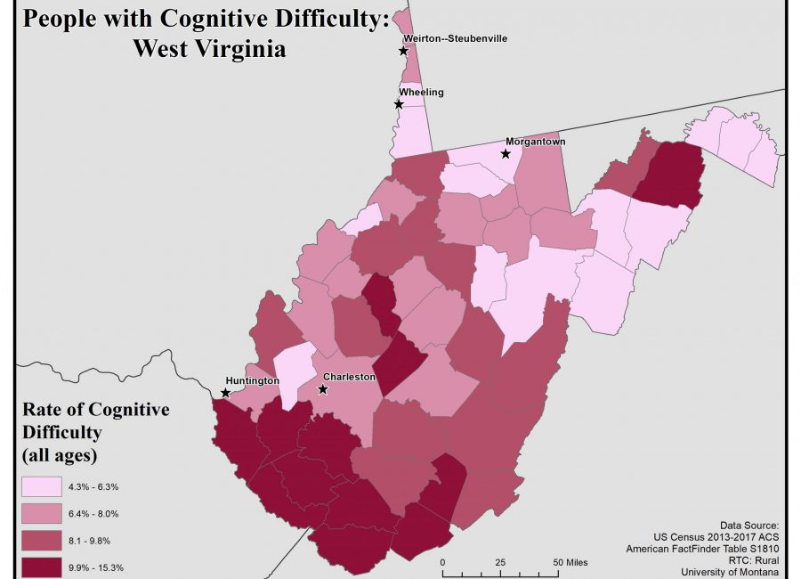 Map of West Virginia showing rates of people with cognitive difficulty by county. See WV State Profile page for full text description.