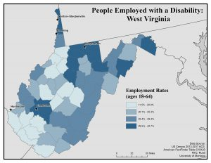 Map of WV showing rates of people with disability who are employed. See WV page for text description.