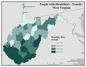 Map of WV showing rates of females with disabilities. See WV page for text description.