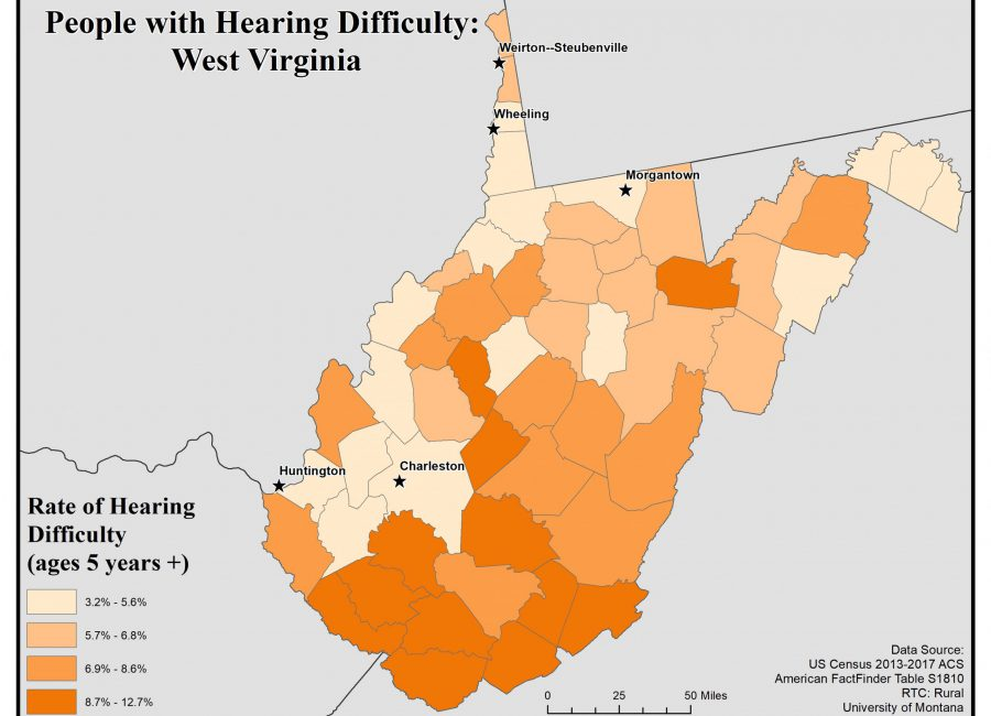 Map of West Virginia showing rates of people with hearing difficulty by county. See WV State Profile page for full text description.