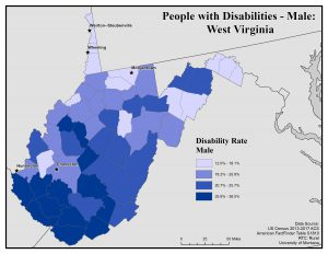 Map of WV showing rates of males with disabilities. See WV page for text description.