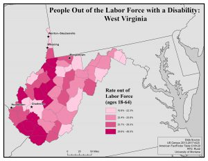Map of WV showing rates of people with disability who are out of the labor force. See WV page for text description.