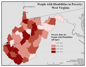 Map of WV showing rates of people with disabilities in povery. See WV page for text description.
