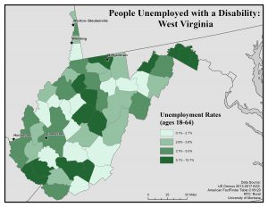 Map of WV showing people unemployed with a disability. See WV page for text description.