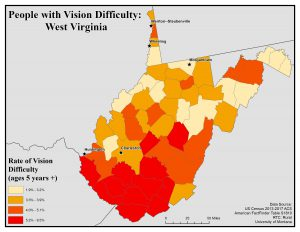 Map of West Virginia showing rates of people with vision difficulty by county. See WV State Profile page for full text description.