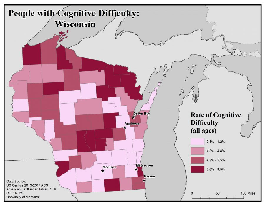 Map of Wisconsin showing rates of people with cognitive difficulty by county. See Wisconsin State Profile page for full text description.