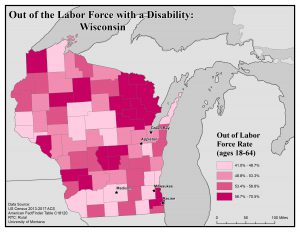 Map of Wisconsin showing rates of people with disabilities who are out of the labor force by county. See Wisconsin State Profile page for full text description.