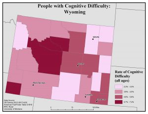 Map of Wyoming showing rates of people with cognitive difficulty by county. See Wyoming State Profile page for full text description.