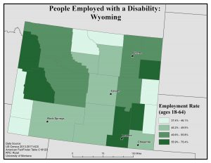 Map of Wyoming showing rates of people with disabilities who are employed. See Wyoming State Profile page for full text description.
