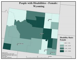 Map of Wyoming showing rates of females with disabilities by county. See Wyoming State Profile page for full text description.